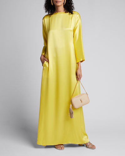 Katy Satin Boat-Neck Dress