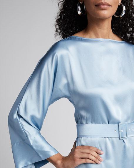 Satin Boat-Neck Bell-Sleeve Belted Dress