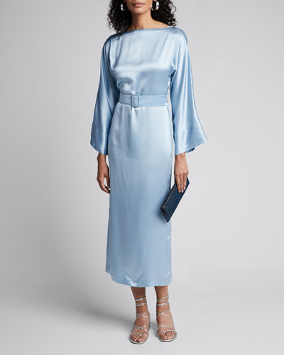 Satin Boat-Neck Bell-Sleeve Belted Dress