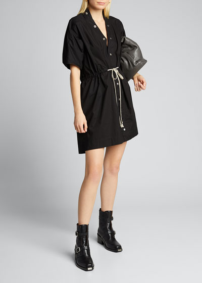 Drawstring-Waist 1/2-Sleeve Dress