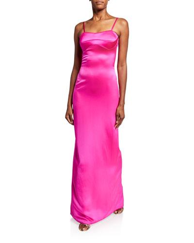 Silk Satin Bustier Gown