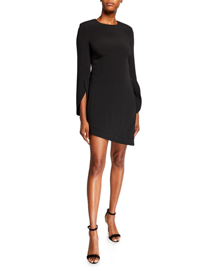 Crepe Bell-Sleeve Asymmetric Dress