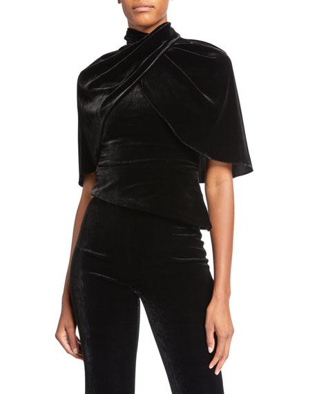 Velvet Cape-Sleeve Top