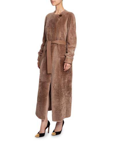 Lamb Fur Tie-Waist Coat