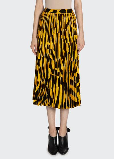 Printed Accordion Pleated Midi Skirt