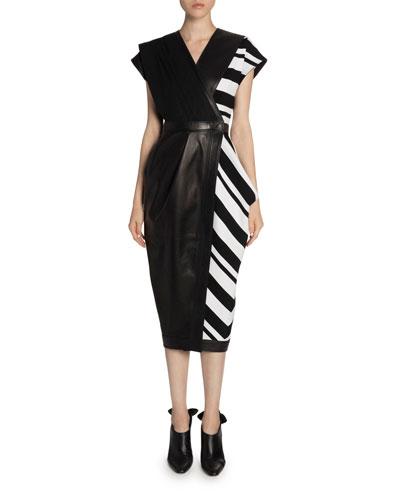 Cap-Sleeve Leather & Knit Wrap Dress