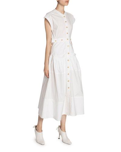 Cotton Poplin Button-Front Dress