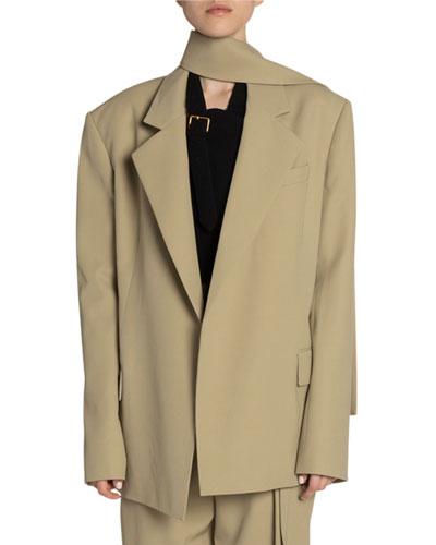 Scarf-Neck Wool Oversized Blazer