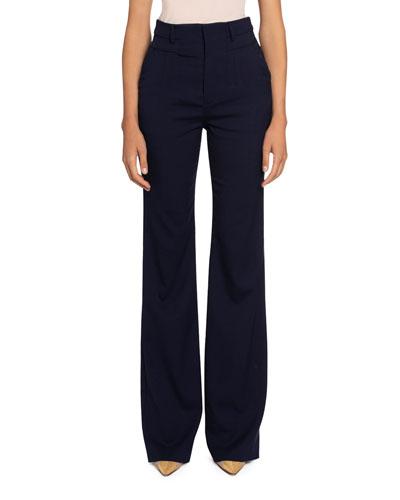 High-Waist Straight-Leg Pants