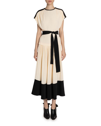 Crepe Belted Maxi Dress