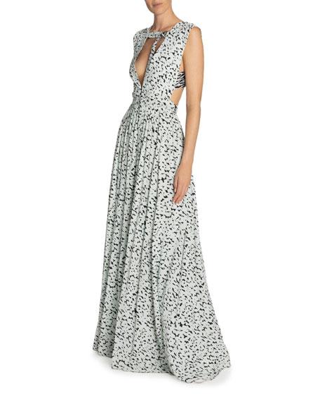 Leopard-Print Deep-V Neck Dress