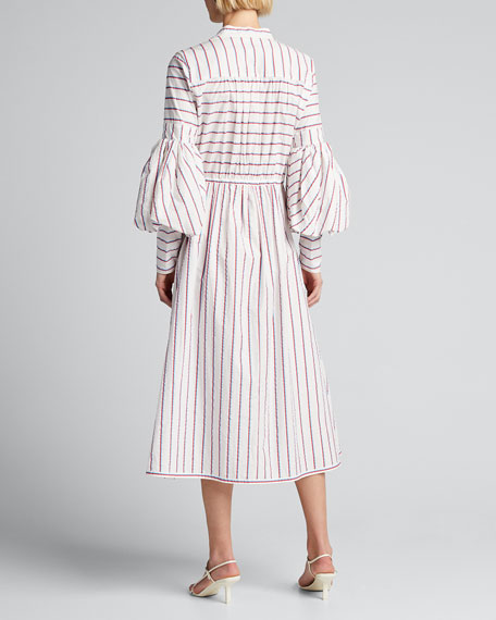Striped Tie-Front Midi Dress