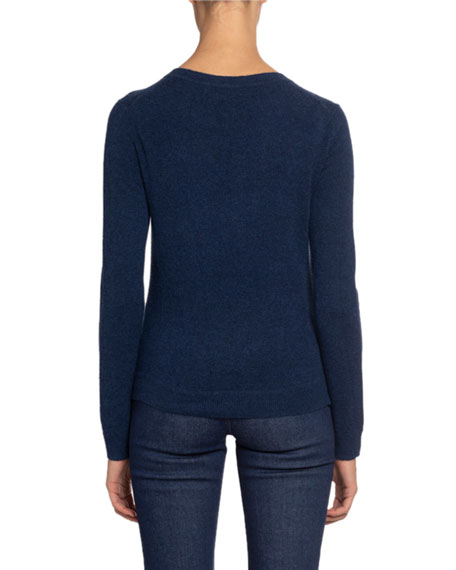 Cashmere Crewneck Button-Front Sweater