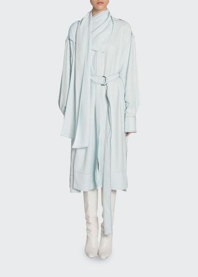 Gabardine Scarfed Dress w/ Belt