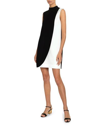 Two-Tone Swoop Mini Dress