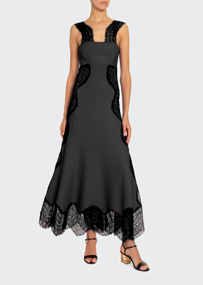 Crepe Wavy-Lace Maxi Dress