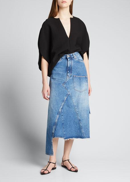 Midi Denim Asymmetric Skirt