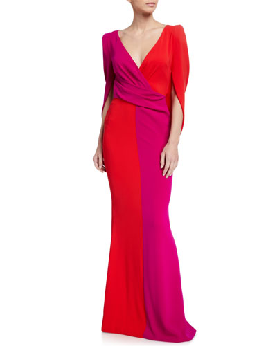 Two-Tone Mid-Sleeve Gown
