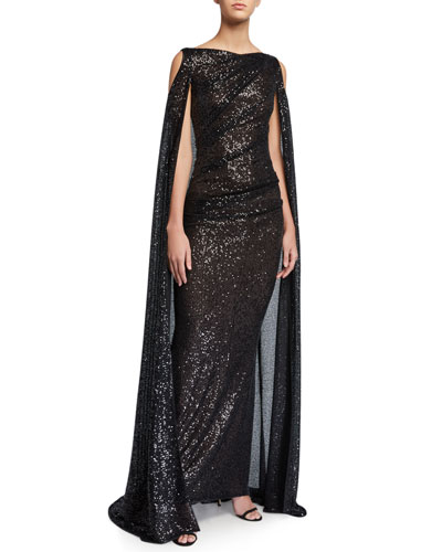 Caped Cold-Shoulder Micro-Sequined Gown