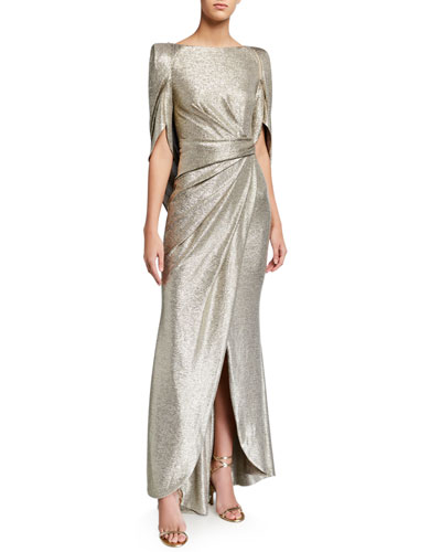 Laminated Jersey Mid-Sleeve Gown