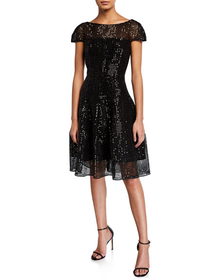 Micro-Sequined Cap-Sleeve Cocktail Dress