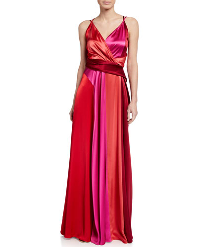 Two-Tone Crepe Thin Strapped Gown