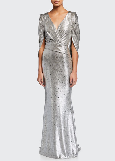 Gathered Stretch Jersey Mirrorball Gown