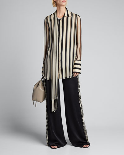 Striped Chiffon Scarf-Collar Shirt