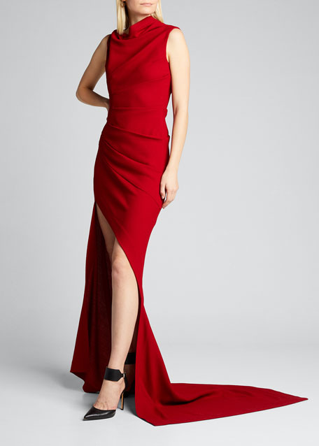 Image 1 of 1: Asymmetric Draped Gown