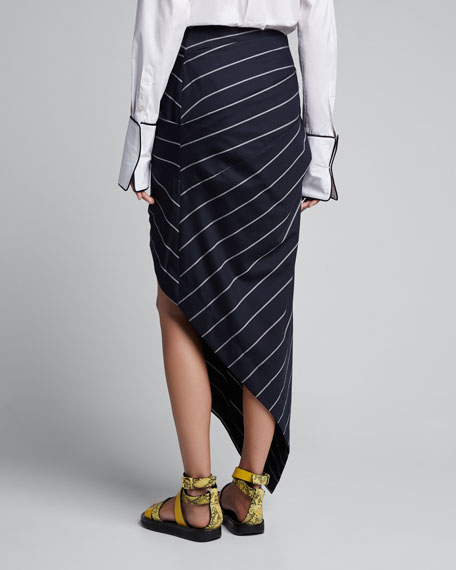 Asymmetric Pinstriped Wrap Skirt