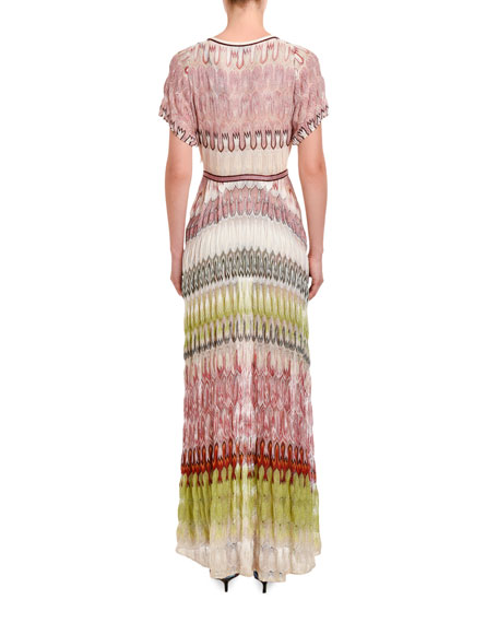 Colorblocked Short-Sleeve Maxi Dress
