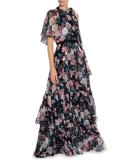 Natalina Bouquet Georgette Tiered Gown