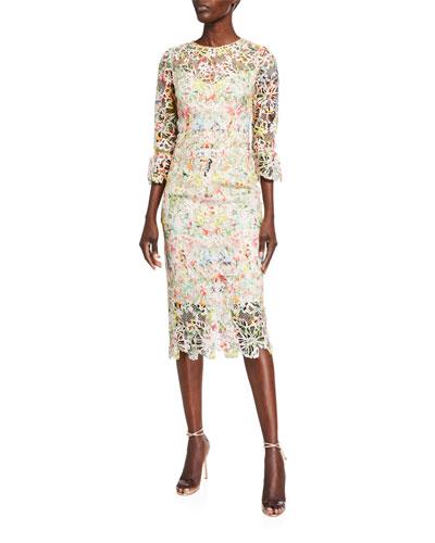 Paradise-Print 3/4-Sleeve Dress