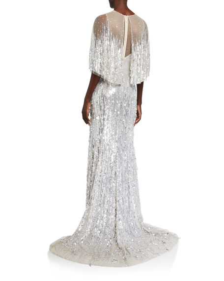 Embroidered Tulle Jewel-Neck Capelet Gown