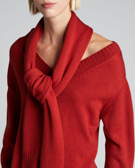 Wool Tie-Neck Cold Shoulder Sweater