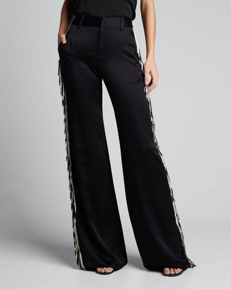 Mid-Rise Wide-Leg Fringed Pants
