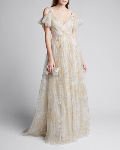 Glitter Firework Gathered Bodice Gown