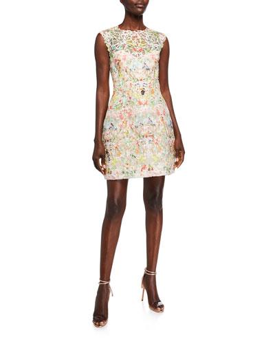 Paradise Print 3/4-Sleeve Dress