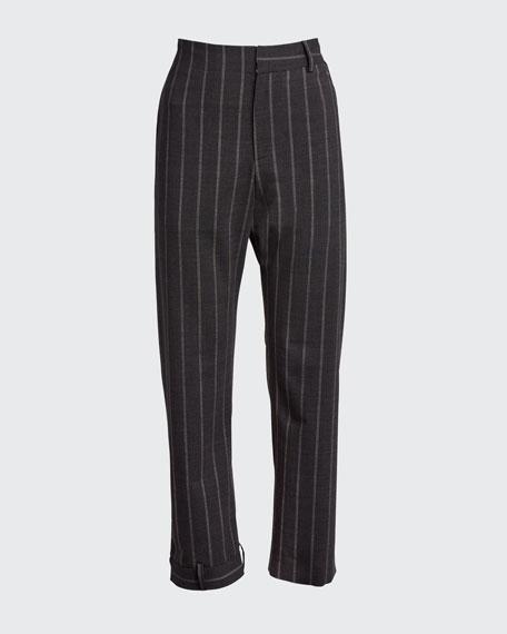 Pinstriped Upside-Down-Leg Pants