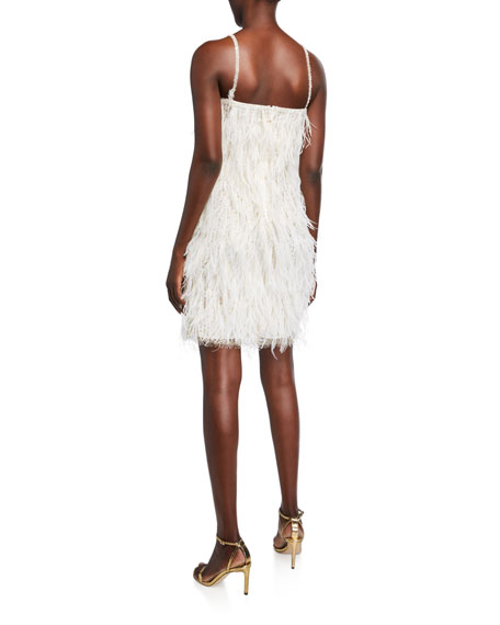 Feathered Mini Shift Dress