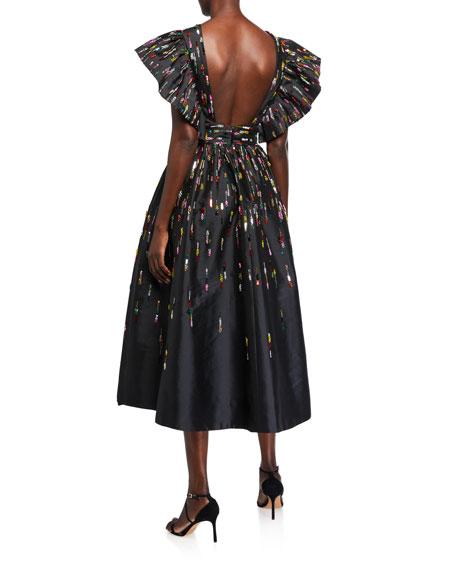 Fluttered V-Neck Midi Dress