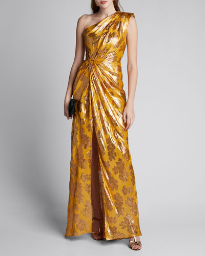 One-Shoulder Foiled Gown