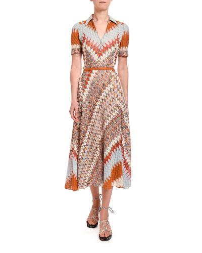 Optical Zigzag Knit Button-Front Midi Dress