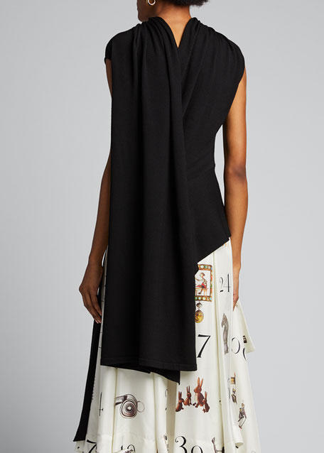 Sleeveless Shifted Shoulder Draped Knit Sweater