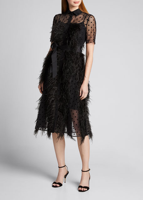 Lace Shirtdress with Feather Details