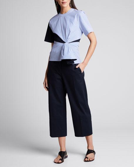 Cotton Gabardine Pleated Trousers