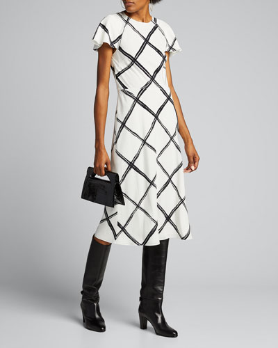Windowpane-Print Crepe Day Dress