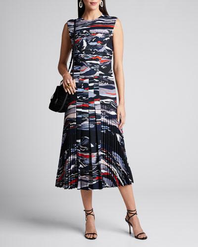 Wave-Print Pleated Crepe Dress