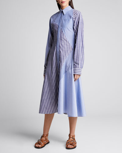 Striped Patchwork Shirtdress