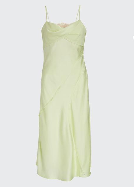 Lace-Trim Satin Slip Dress